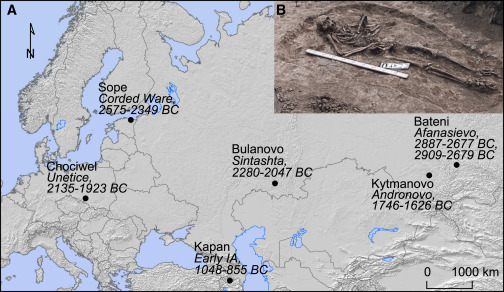 Archaeological Sites of Bronze Age Yersinia pestis(A) Map of Eurasia indicating ...