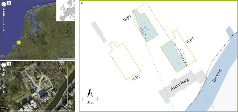 Figure 1. a) Location of Voorburg-Arentsburg in the current Netherlands; b) Aerial view (Google maps) indicating the excavation trenches in the south-west of the town; c) schematic view of the excavated trenches with the course of Corbulo's canal superimposed and the wooden piles marked.