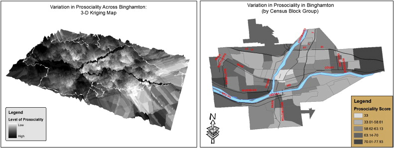 Mapping Binghamton's prosociality with two different methods. On the left is a continuous map using kriging; on the right the city is split into discrete census block groups with scores. Both use the responses from the DAP. (From Wilson et al. 2009, DOI: 10.1016/j.evolhumbehav.2008.12.002)