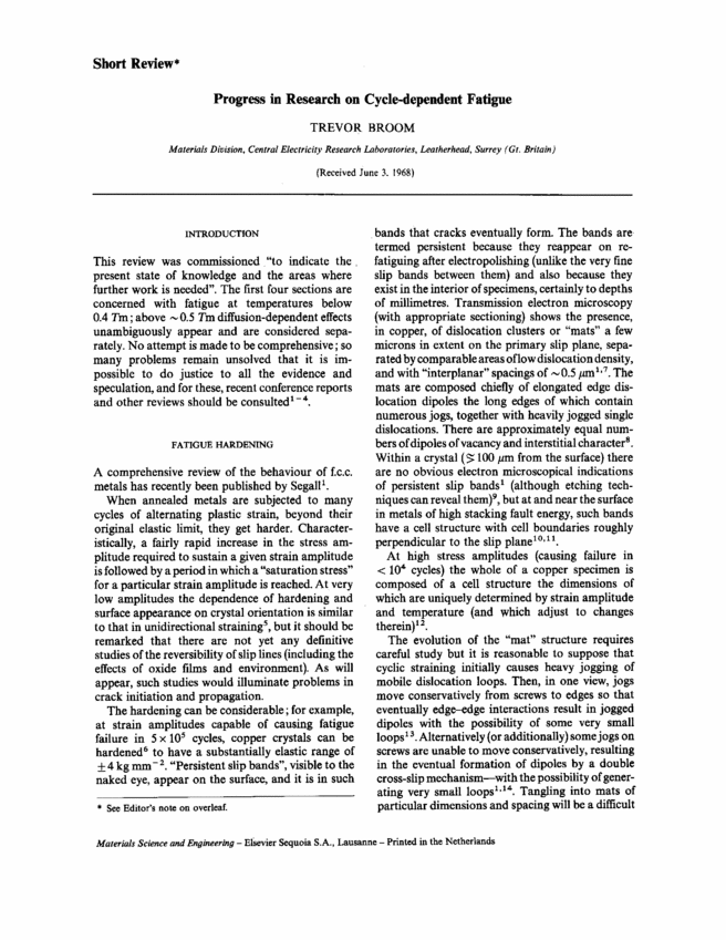 fatigue crack propagation astm stp 415